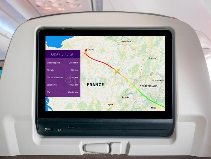Inflight Scherm van de Vooruitgangskaart, brengt tijdens de vlucht het Scherm, het Vluchtscherm, Vluchtdrijver in kaart royalty-vrije stock afbeelding