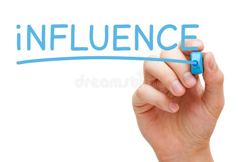 Influence Blue Marker stock images