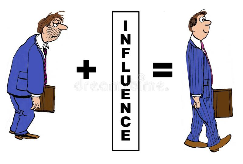 Influence. Cartoon showing the positive impact of influence on businessman stock illustration