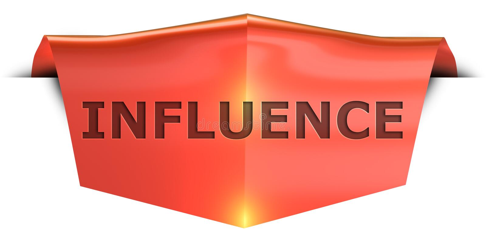 Banner influence. Influence 3D rendered red banner , isolated on white background stock illustration