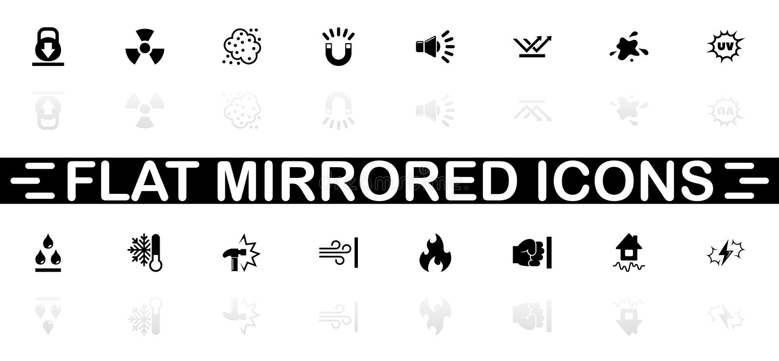 Influence - Flat Vector Icons. Influence icons - Black symbol on white background. Simple illustration. Flat Vector Icon. Mirror Reflection Shadow. Can be used vector illustration