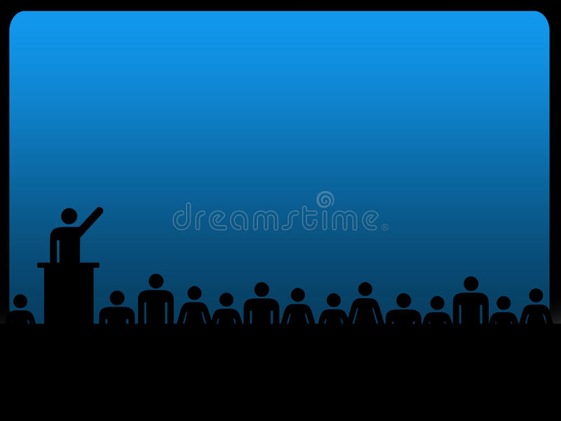 Influence is power concept. With human silhouettes listening to a man giving a speech stock illustration