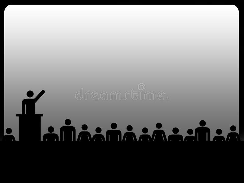 Influence is power concept. Suggested by human silhouette giving a public speech stock illustration