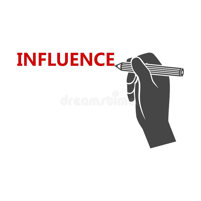 Influence sign, Influence Word. On white background vector illustration