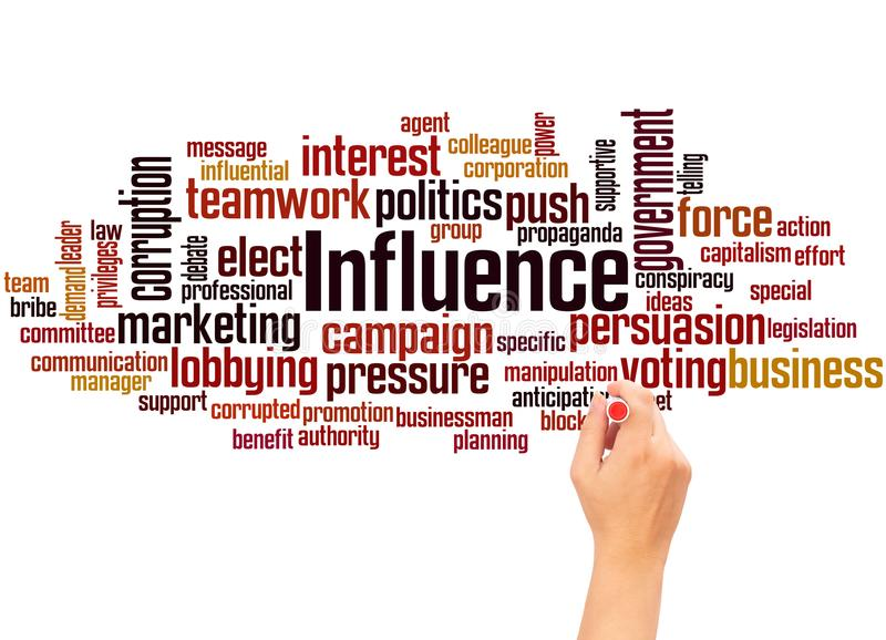 Influence word cloud hand writing concept royalty free stock photos
