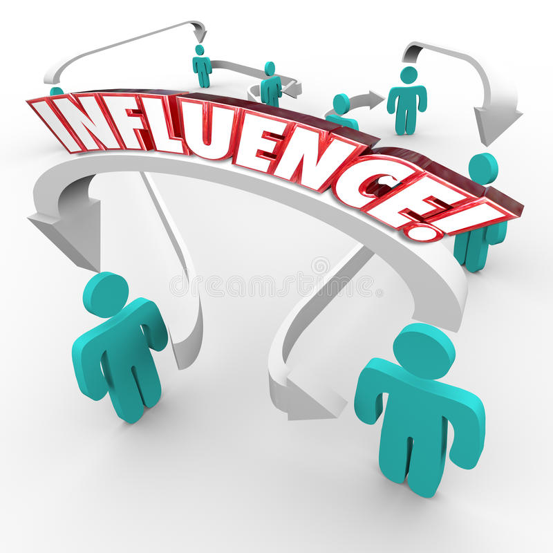 Influence Word Connecting People Group Target Customer Market. Influence word on arrows connecting people in a targeted group for marketing and spreading stock illustration
