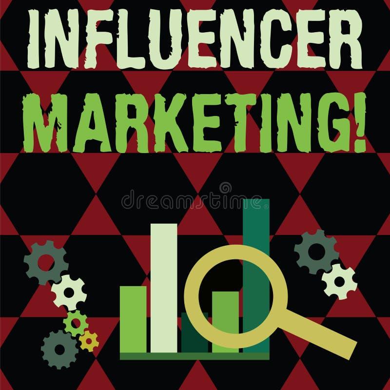 Знак текста показывая маркетинг Influencer Схематическое сообщение бренда привода фото к специфическому рынку потребителей иллюстрация вектора