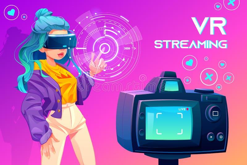 Influencer blogger vr streaming. Broadcasting royalty free illustration