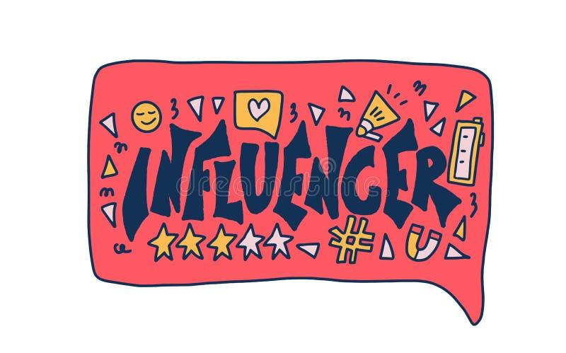 Influencer citationstecken Vektorbegreppsfärg som desing stock illustrationer