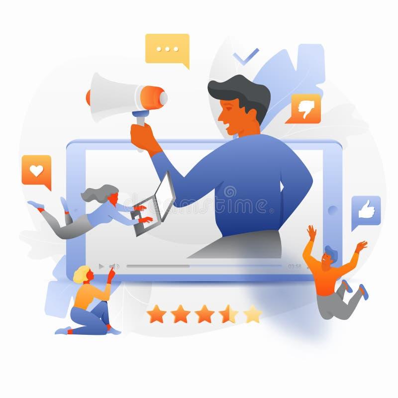 Influencer con los seguidores ilustración del vector