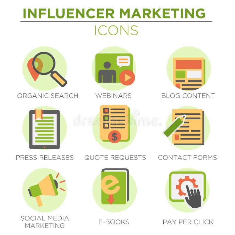 Influencer ikony Marketingowy set ilustracja wektor