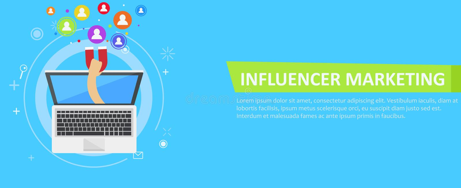 Influencer marketing banner. From the computer comes out a hand with a magnet, calling users. Vector flat illustration vector illustration
