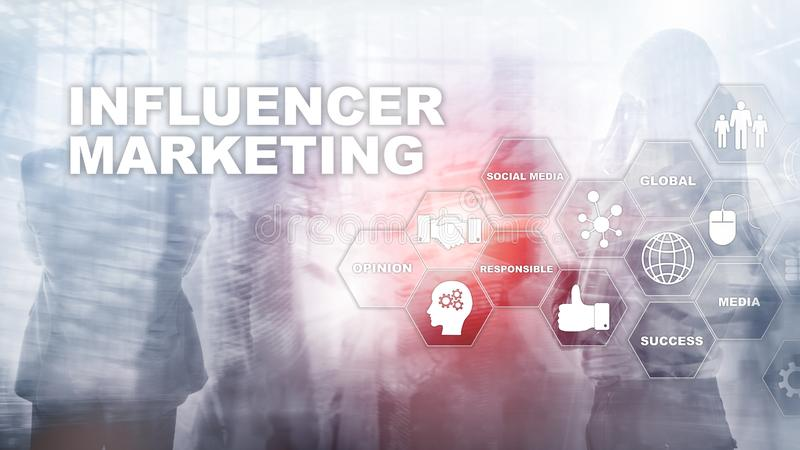 Influencer marketing concept in business. Technology, Internet and network. Abstract background mixed media. vector illustration