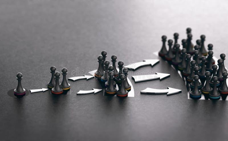Influencer Marketing, Concept Informatie en Invloedspropagatie in Sociale Netwerken royalty-vrije illustratie