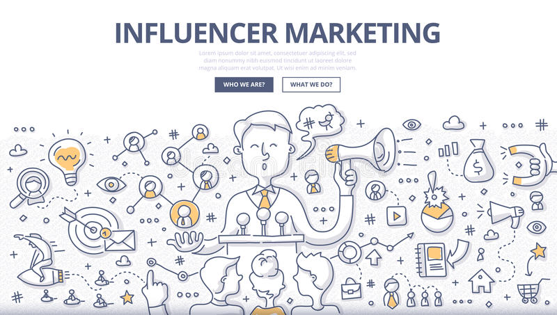 Influencer Marketing Doodle Concept royalty free illustration