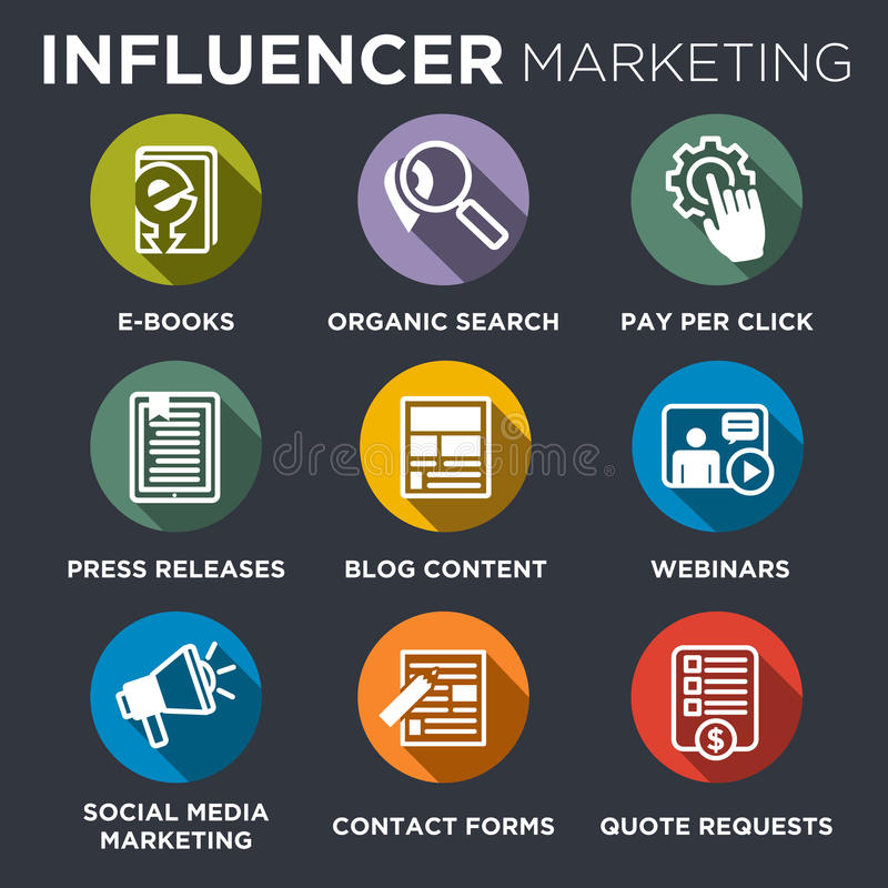 Influencer Marketing Icon Set stock illustration