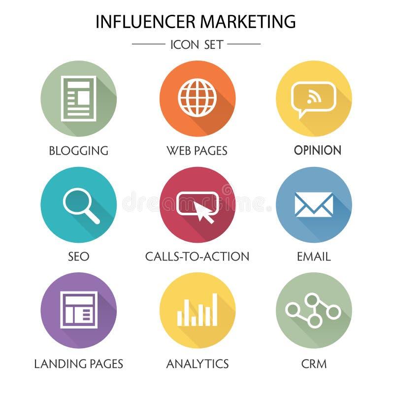Influencer-Marketing-Ikonen-Satz stock abbildung