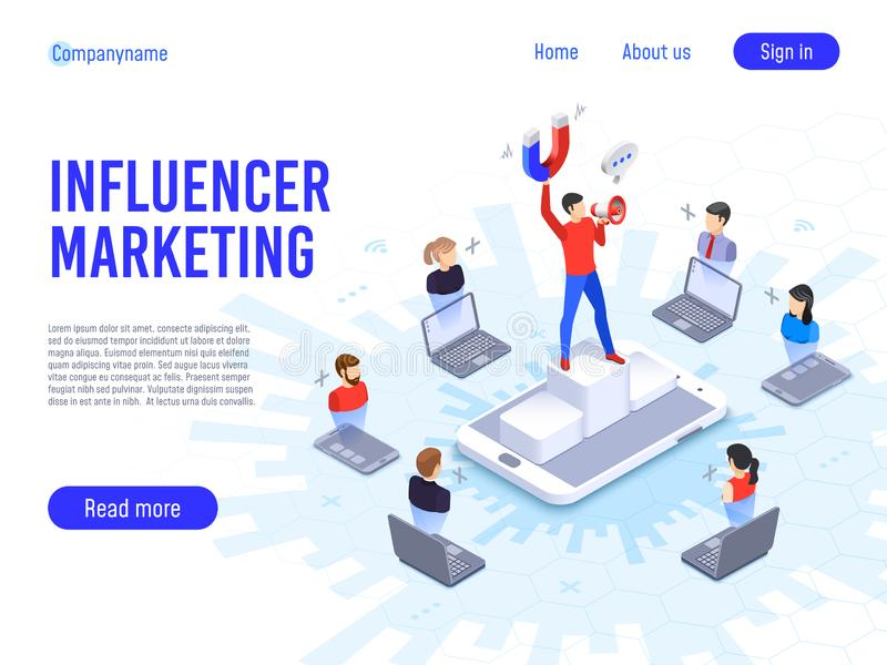 Influencer marketing. Influence on B2c clients, potential product buyers or consumer products buyer. Online engagement communication business or digital royalty free illustration