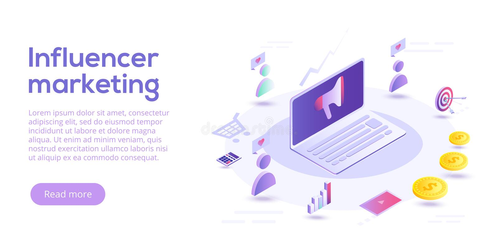 Influencer marketing isometric vector illustration. Blog advertising goods via internet social media. Website or blog ad stock illustration