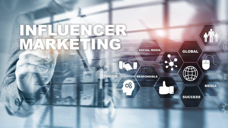 Influencer-Marketing-Konzept im Gesch?ft Technologie, Internet und Netz Abstrakte Hintergrundgemischte medien stockfoto