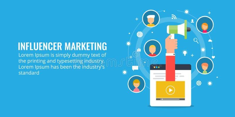 Influencer marketing, ogólnospołeczni środki, networking, widowni zobowiązania pojęcie Płaskiego projekta marketingowa ilustracja ilustracji