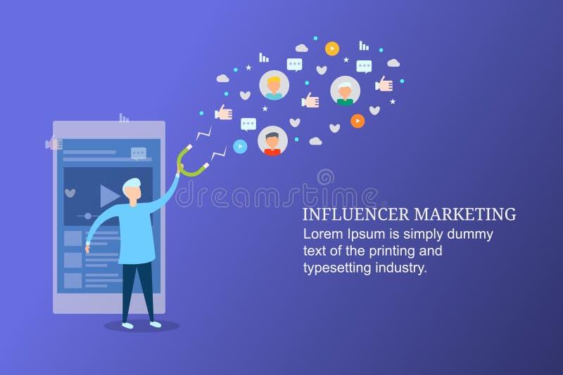 Influencer marketing, ogólnospołeczny medialny zobowiązanie, przyciąga nowej widowni, wirusowy zadowolony pojęcie ilustracja wektor
