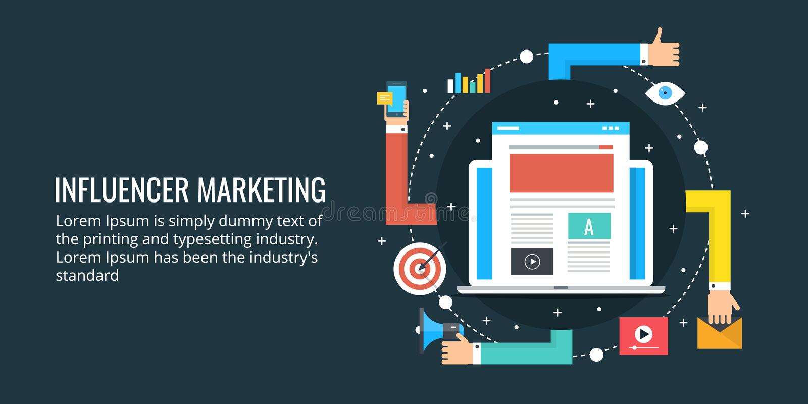Influencer marketing strategy - social media and blogging concept. Concept of influencer marketing, Blog content promotion via social media strategy. Flat vector illustration