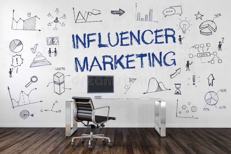 Influencer-Marketing-Text- und -geschäftsikonen vektor abbildung