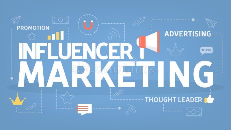 Influencer marketingowy pojęcie Promocja w ogólnospołecznych środkach royalty ilustracja
