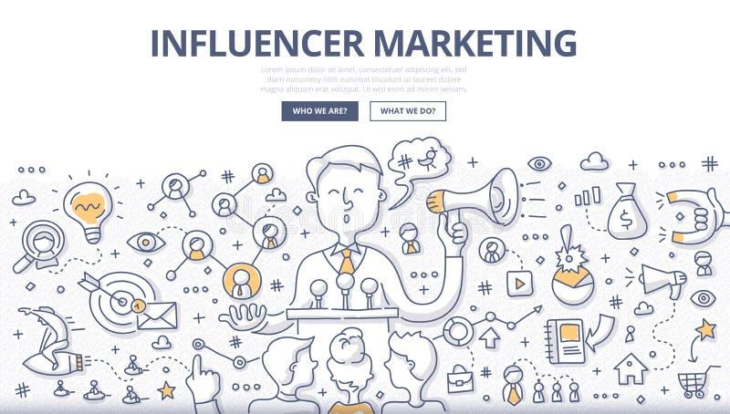 Influencer marketingu Doodle pojęcie royalty ilustracja