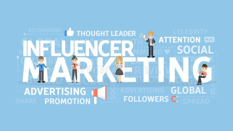 Influencer marknadsföringsbegrepp vektor illustrationer