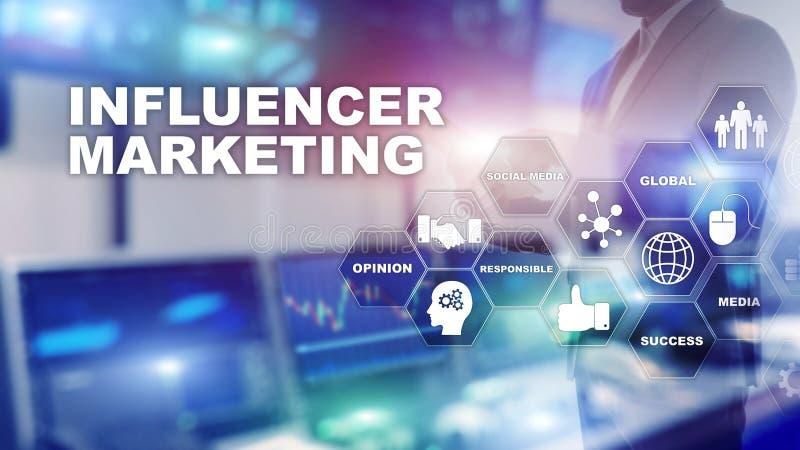 Influencer marknadsf?ringsbegrepp i aff?r Teknologi, internet och n?tverk Blandat massmedia f?r abstrakt bakgrund stock illustrationer