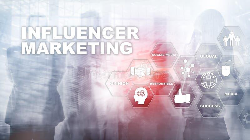 Influencer marknadsf?ringsbegrepp i aff?r Teknologi, internet och n?tverk Blandat massmedia f?r abstrakt bakgrund vektor illustrationer