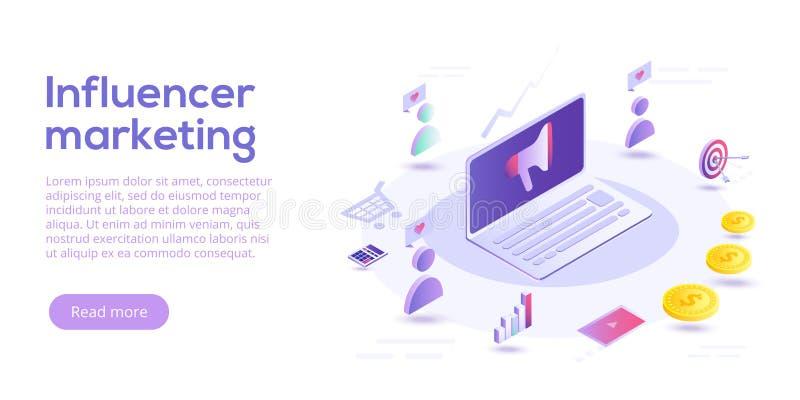 Influencer que comercializa el ejemplo isométrico del vector Adverti del blog stock de ilustración