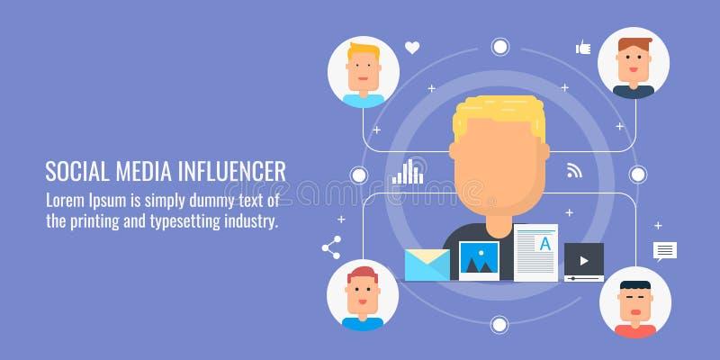 Influencer sociale di media, vendita del influencer, vendita contenta, media digitali, concetto contento virale Insegna piana di  illustrazione vettoriale