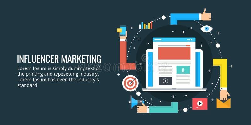 Influencer strategia marketingowa ogólnospołeczni środki i blogging pojęcie - ilustracja wektor