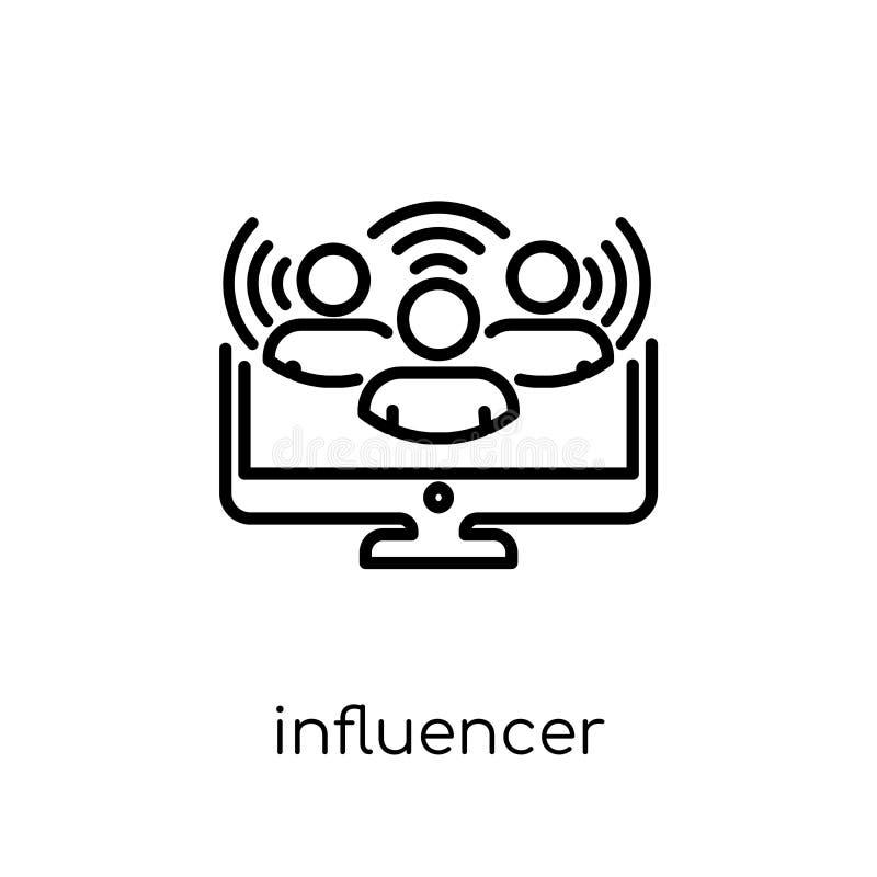 Influencer symbol Moderiktig modern plan linjär vektorInfluencer ico royaltyfri illustrationer