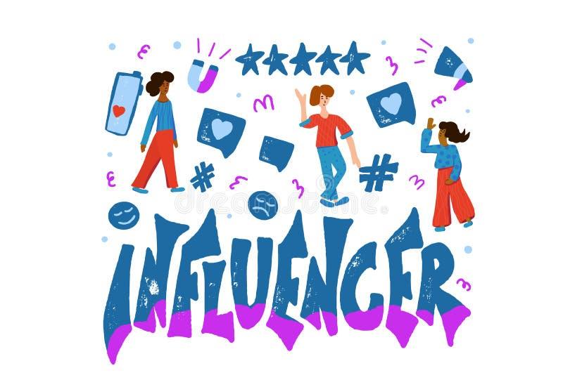 Influencer vectorconcept met meisje en tekst stock illustratie