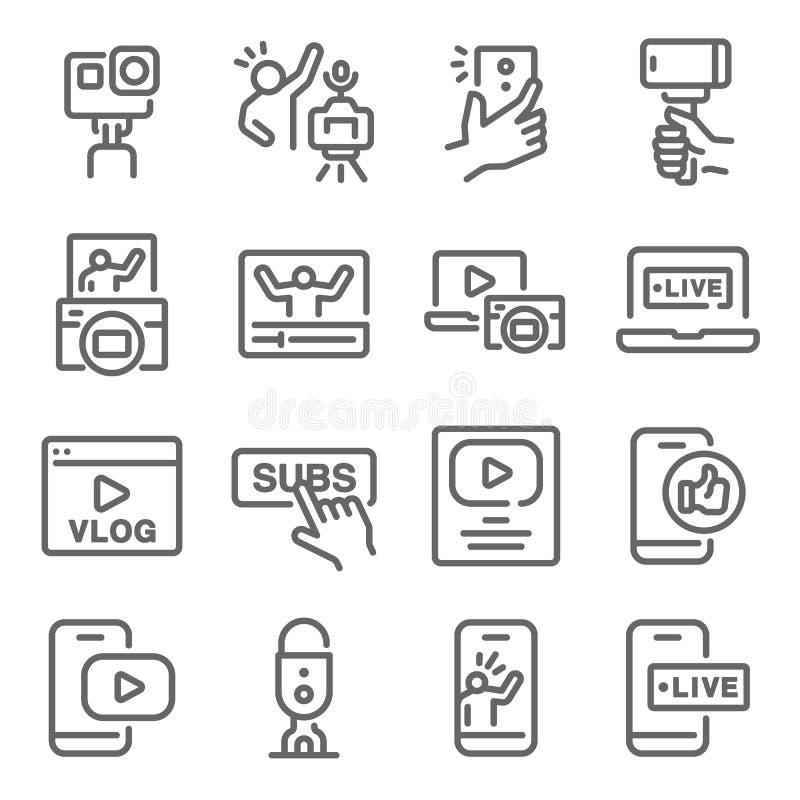 Influencer Vlog图标集矢量图插图 包含Micro Influencer、Social Media、Selfie、Live、Creator等图标 皇族释放例证