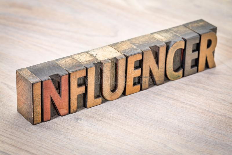 Influencer word abstract in wood type. Influencer - word abstract in vintage letterpress wood type printing blocks stock photo