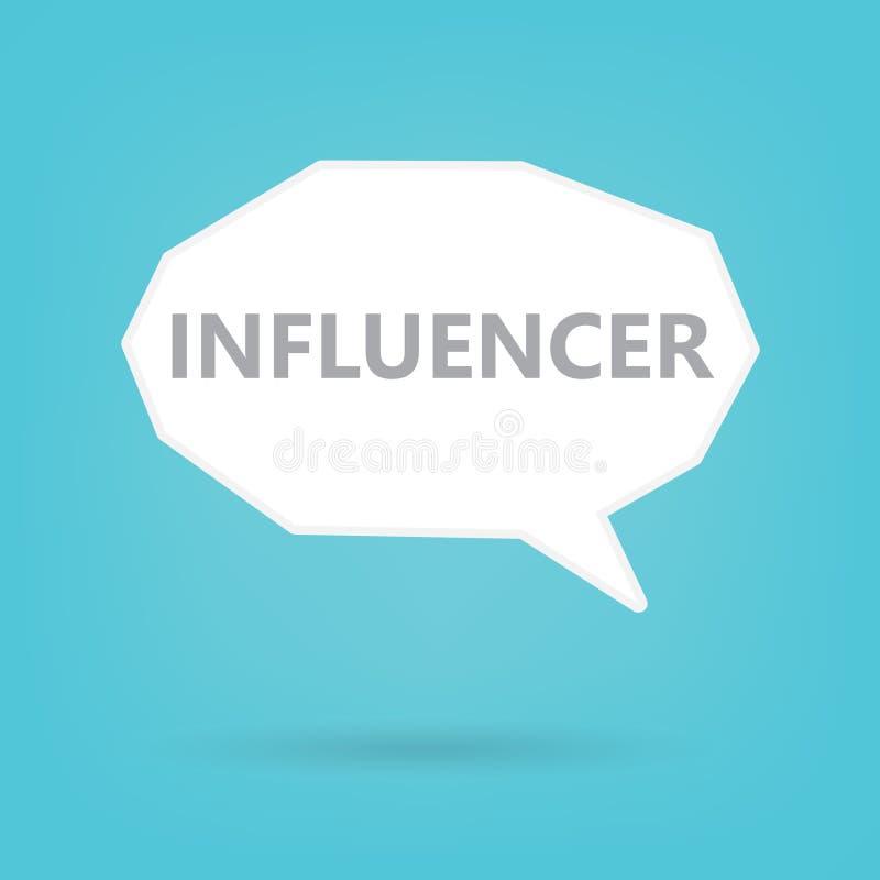 Influencerwoord op een toespraakbel vector illustratie
