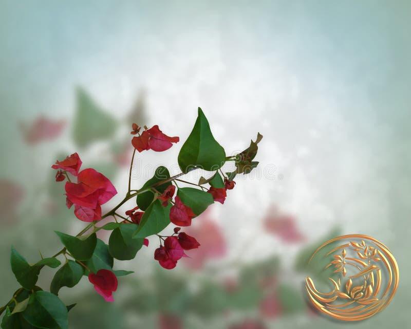 Influencia asiática del fondo floral stock de ilustración