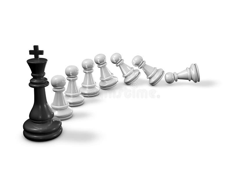 Influenciando otros el concepto con ajedrez empeña caer abajo y al rey del ajedrez libre illustration