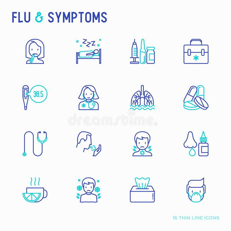 Influensa och tecken gör linjen symbolsuppsättning tunnare royaltyfri illustrationer