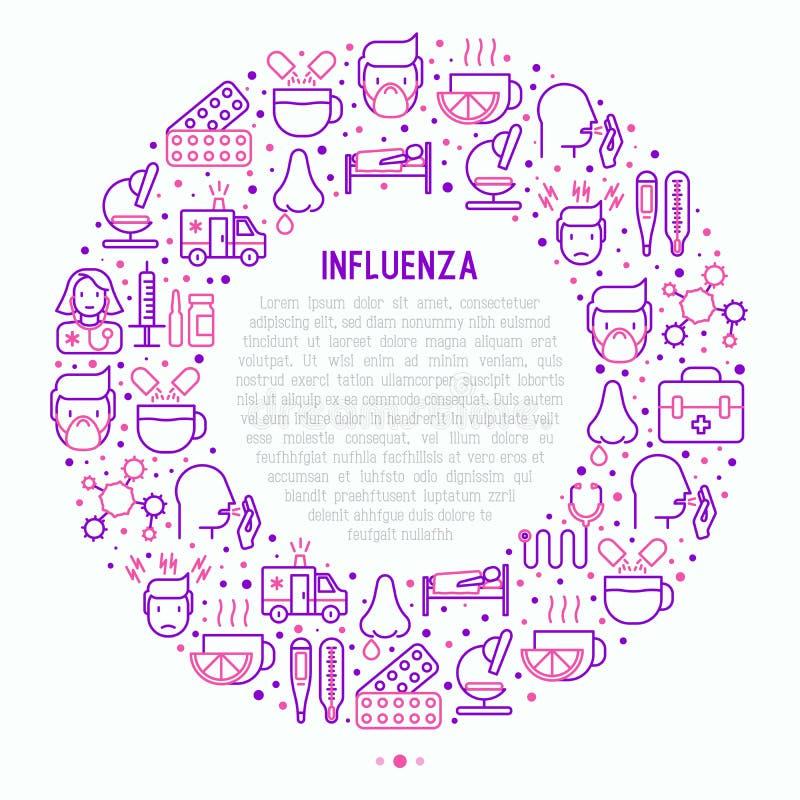 Influensabegrepp i cirkel med den tunna linjen symboler royaltyfri illustrationer