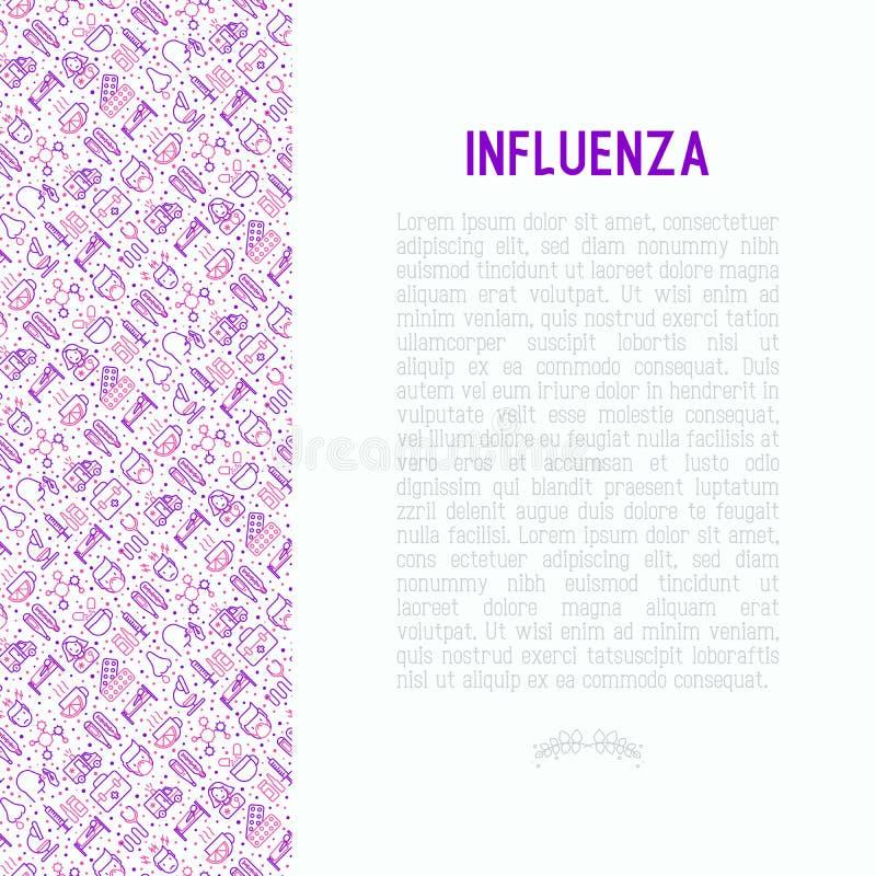 Influensabegrepp med den tunna linjen symboler stock illustrationer
