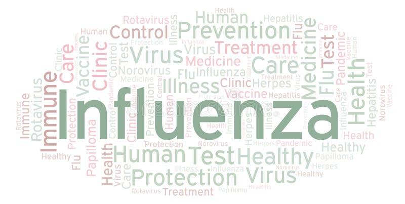 Influensaordmoln som göras med text endast royaltyfri illustrationer