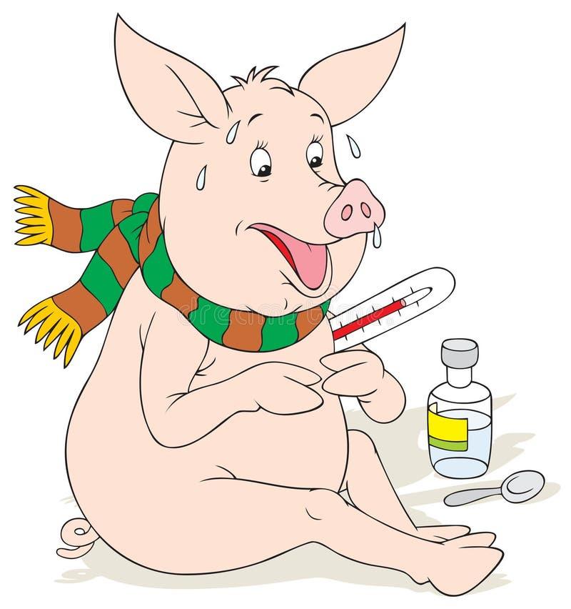 influensaswine royaltyfri illustrationer