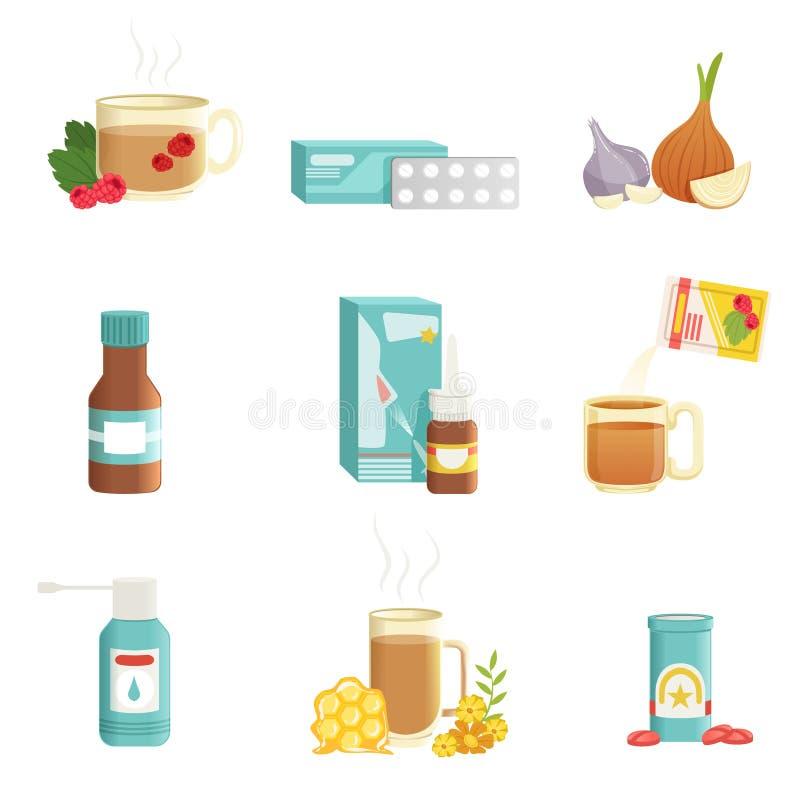 Influensasymbolsuppsättning Alternativa och traditionella behandlingar Te med hallon, preventivpillerar, lökar, sirap, näsdroppar royaltyfri illustrationer