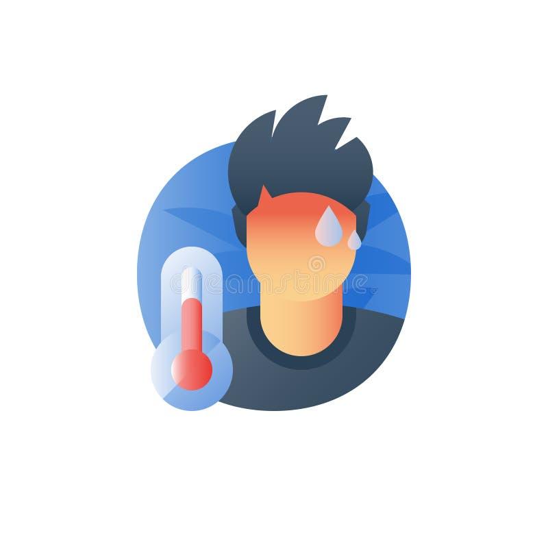 Influensatecken, feberbegreppet, den mycket varma termometern, sjuk svettas person, fångar en förkylning, rökkanalviruset som dål royaltyfri illustrationer